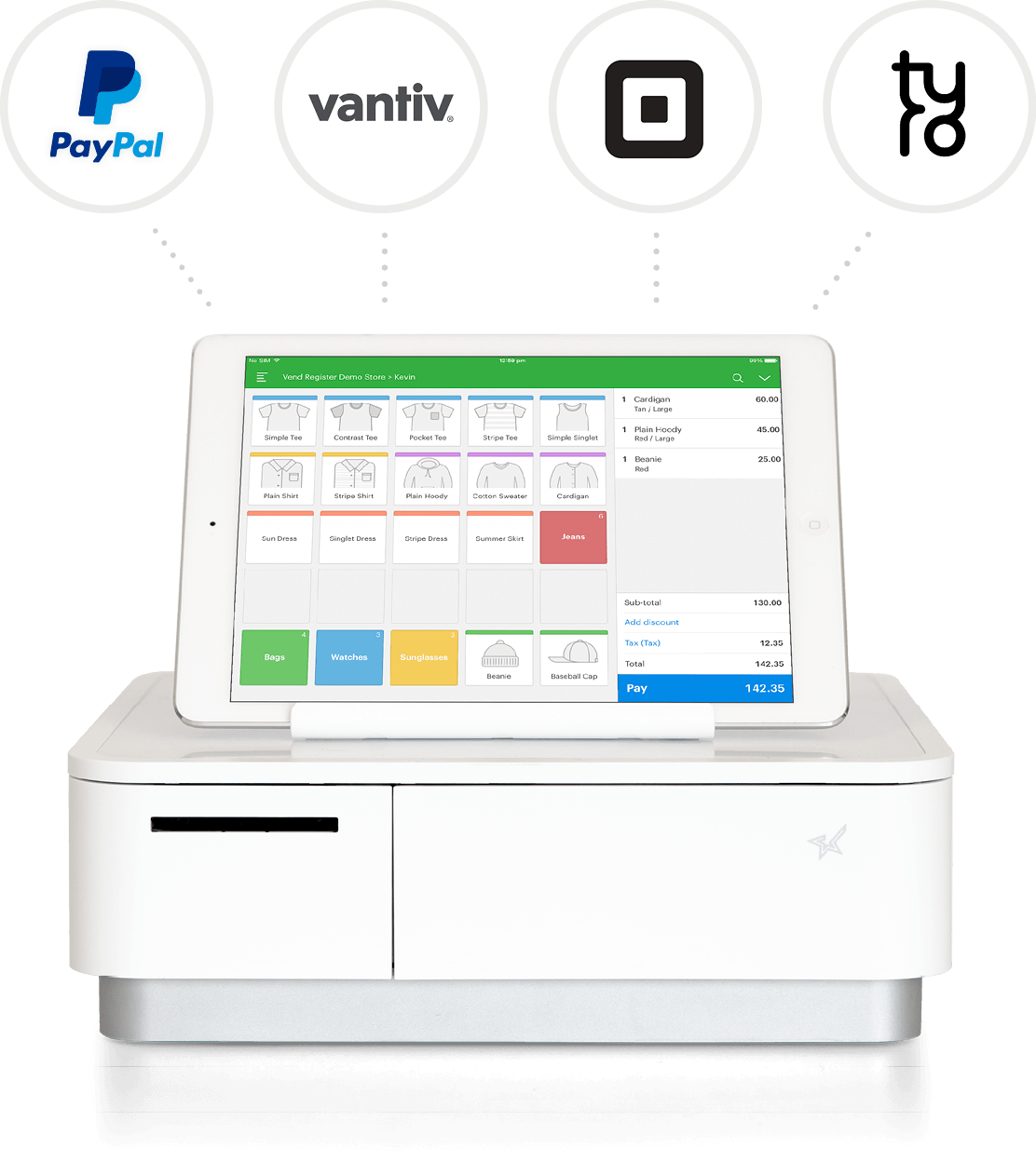 Vend POS merchant providers include PayPal, Vantiv, Square and Tyro