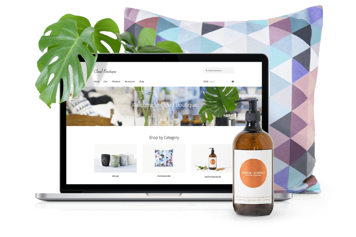 WooCommerce on Laptop with Products