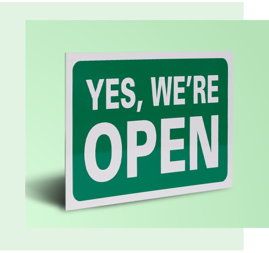 A retail store open sign