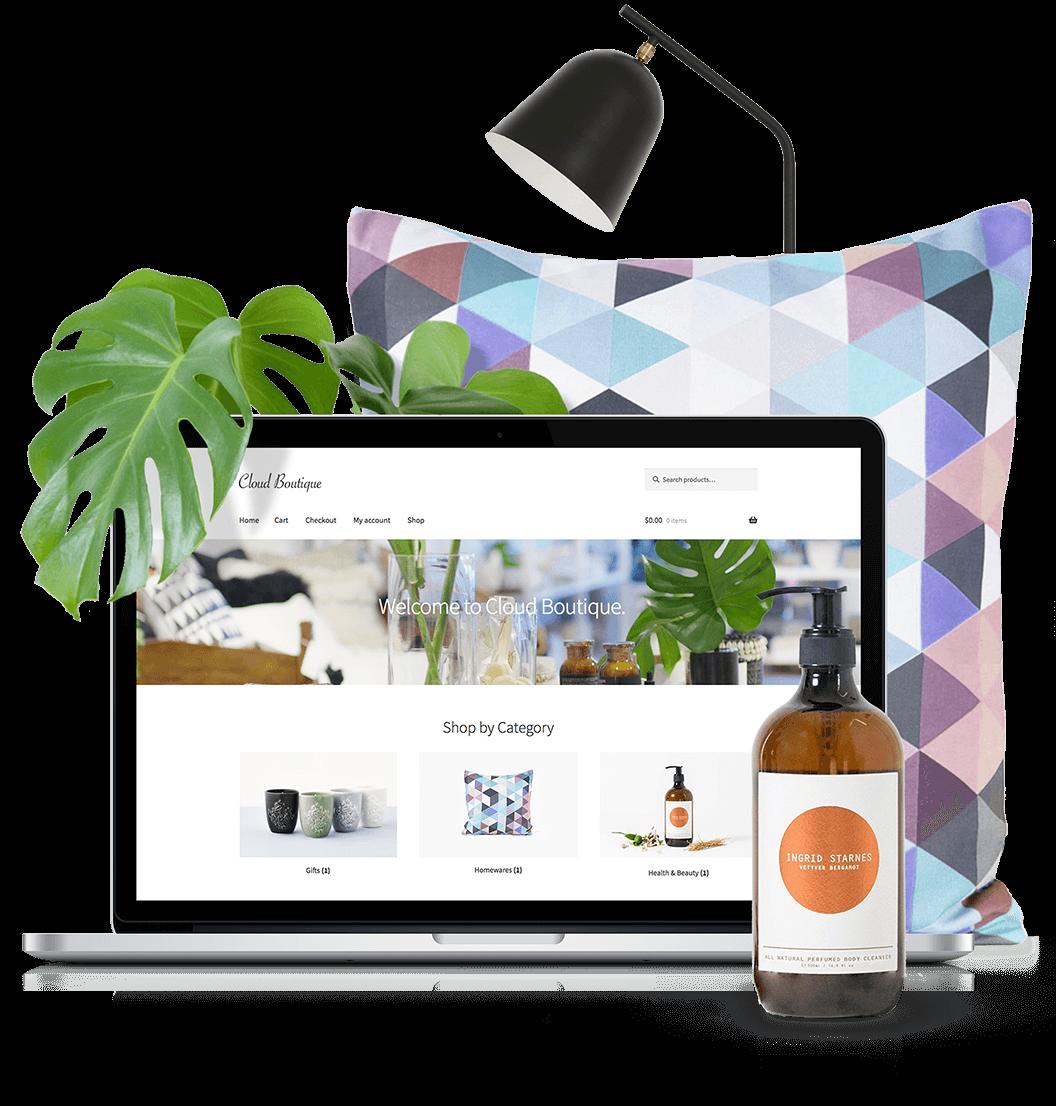 WooCommerce ecommerce solution displayed on laptop
