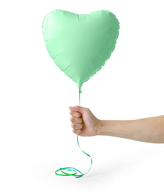 Green heartshaped helium baloon