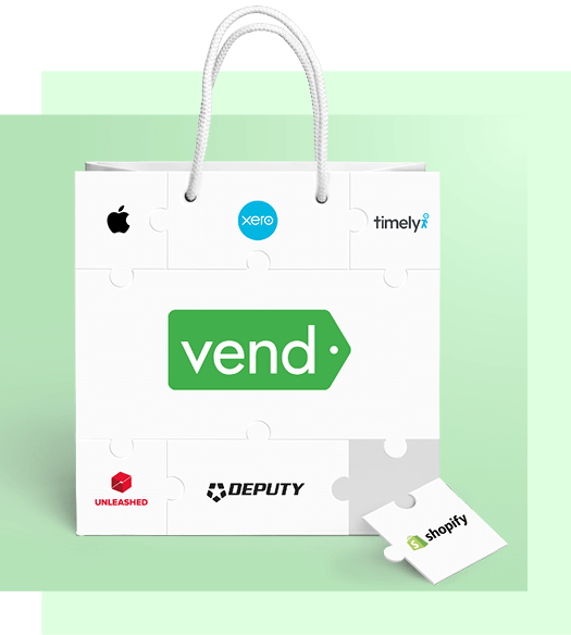 Shopping bag with a jigsaw puzzle on the front. Each piece of the jigsaw puzzle has a logo of a Vend partner