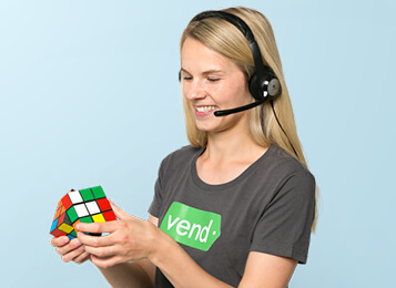 Vend support agent solving rubik's cube